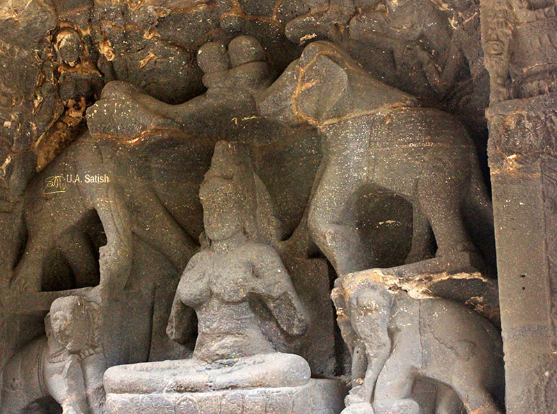 Kailas Temple; Ellora Caves; cave no. 16; rock cut caves; India; Maharashtra; temple; UNESCO heritage site; uasatish; Galalakshmi; four elephants;