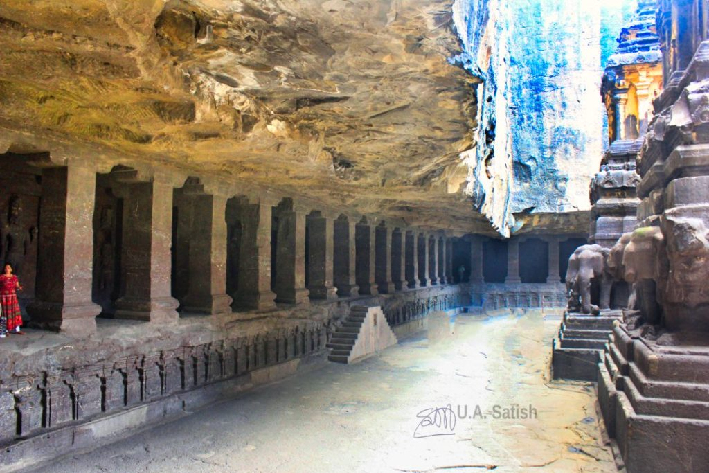 Kailasa Temple Arcade; Ellora Caves; cave no 16;  Kailasa Temple; Maharashtra; uasatish;