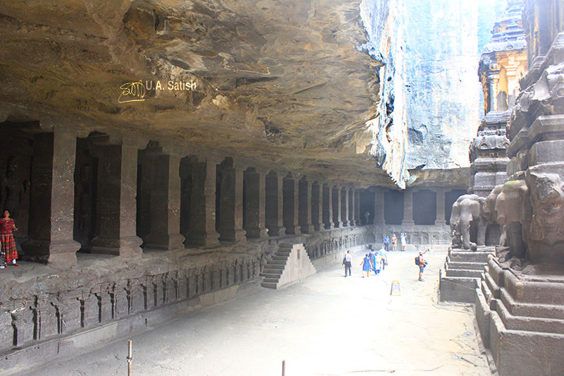Kailas Temple; Ellora Caves; cave no. 16; rock cut caves; India; Maharashtra; temple; UNESCO heritage site; uasatish; arcade;