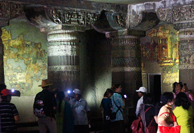 Ajanta Caves; cave no 1; paintings; pillars; Maharashtra; India; uasatish;