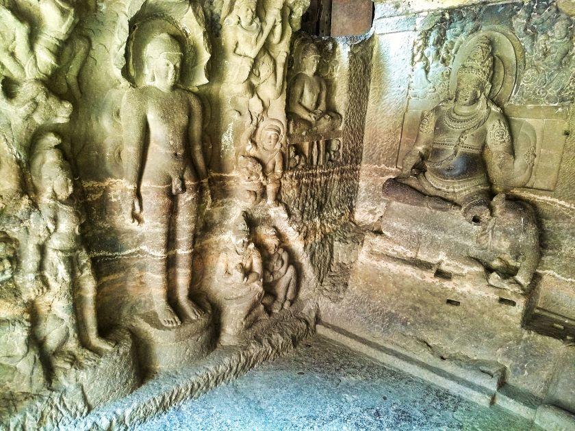 Ellora Caves; Ellora Cave 32; Mahaashtra; uasatish; carved deities;