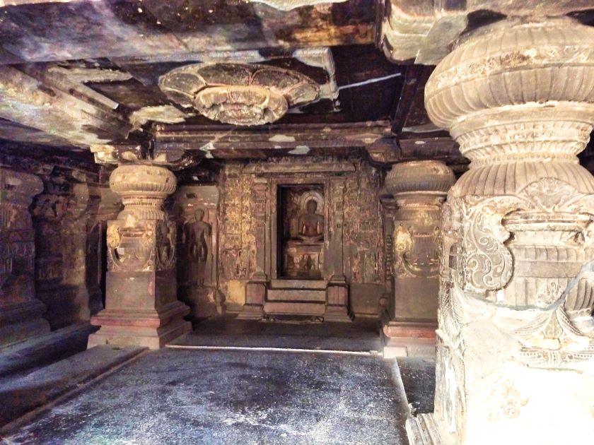 Ellora Caves; Ellora Cave 32; carved lotus; Jain Caves; uasatish;