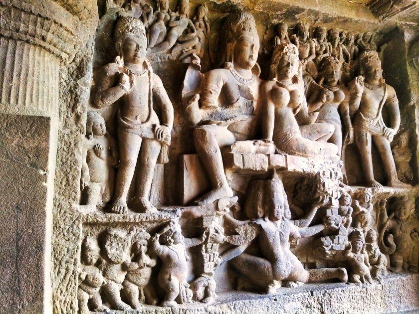 Ellora Caves; Ellora Cave 29; Hindu Cave; rock cut cave; uasatish; Ravana Shaking Kailasa;