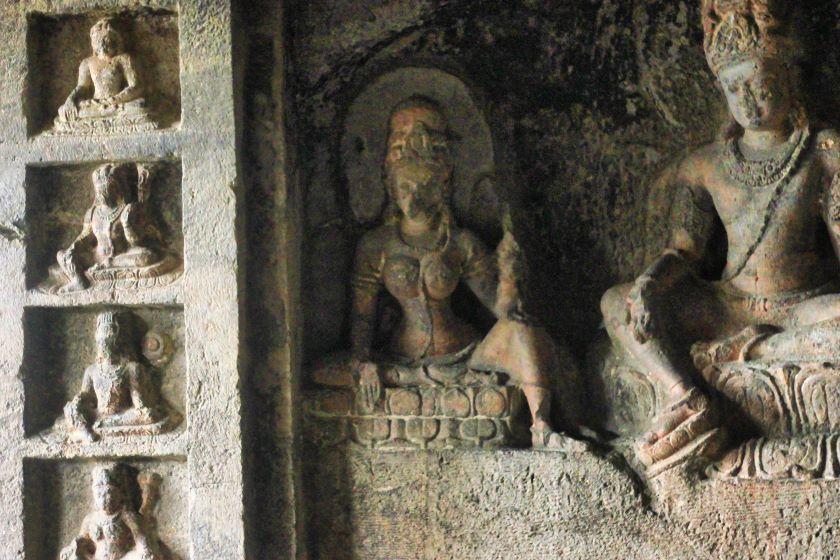 Ellora Caves; Ellora Cave 12; Maharashtra; rock sculptures; uasatish;