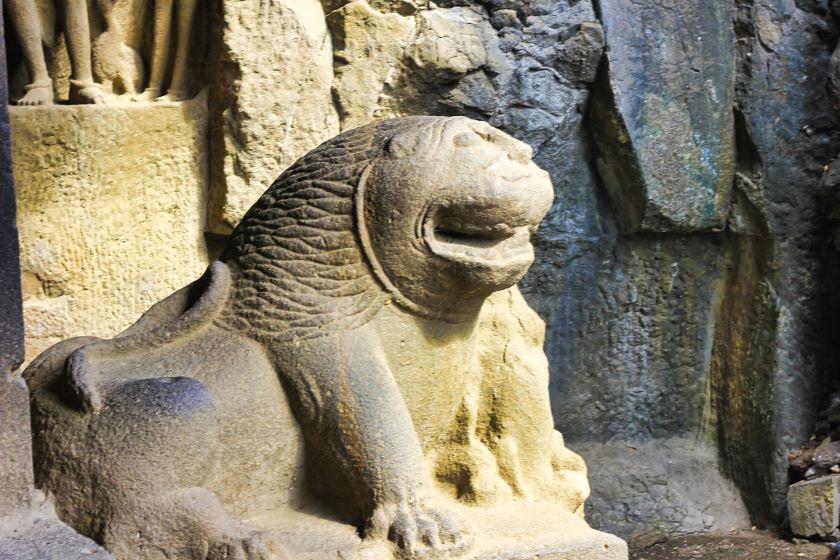 Ellora Caves; Ellora Cave 29; Hindu Cave; Maharashtra; stone lion; uasatish;