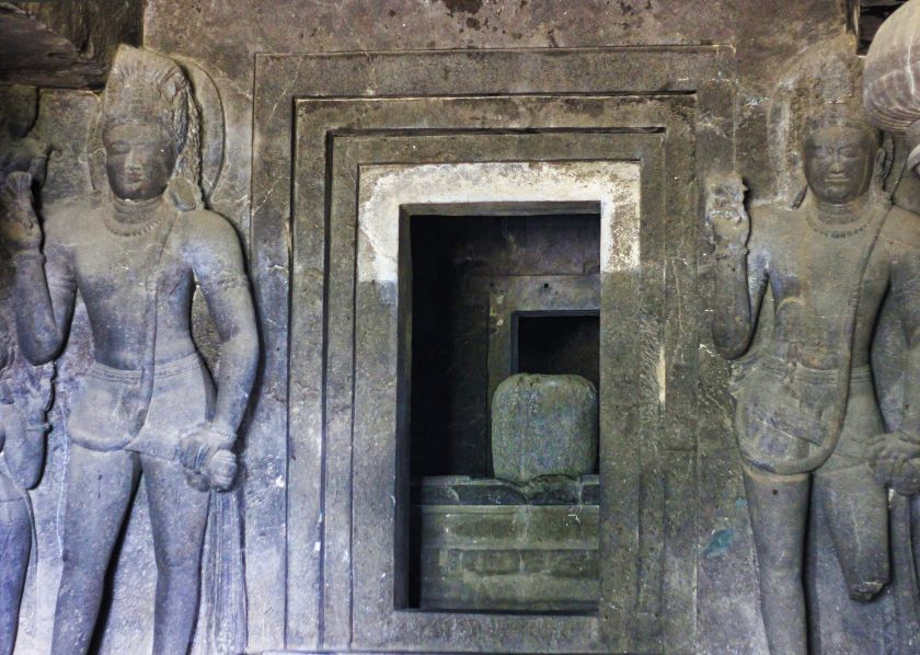 Ellora Caves; Ellora Cave 29; Hindu Cave; Maharashtra; shrine; dwarapalakas; uasatish;