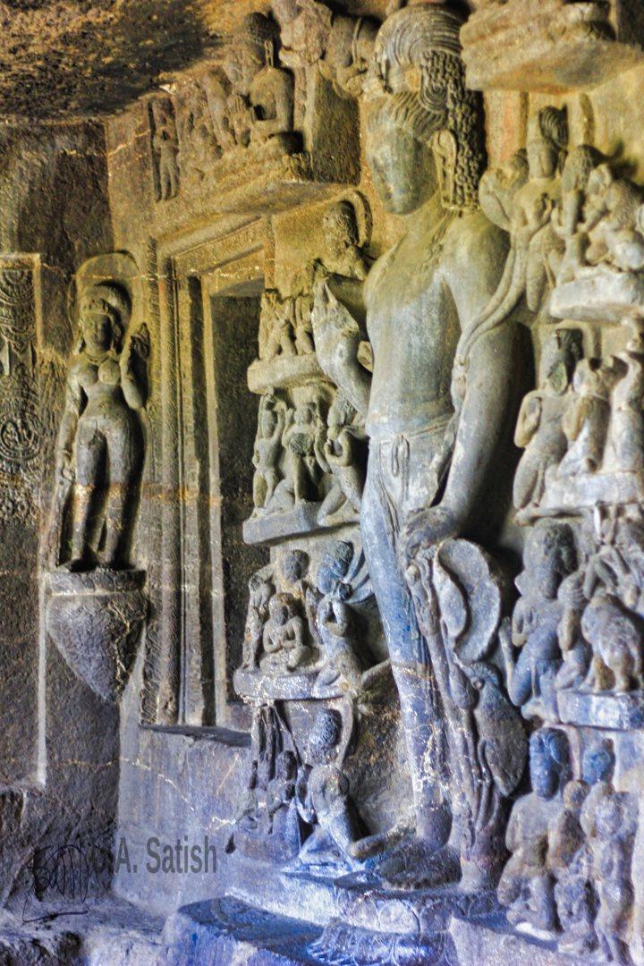 Aurangabad Cave No 7; Aurangabad; Aurangabad Caves; Maharashtra; Avalokitswara; rock sculpture; uasatish;