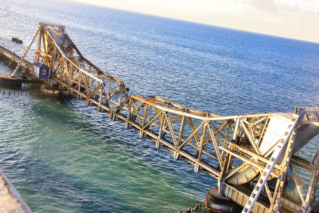 lifting spans; Pamban Bridge; India; uasatish; sea; Palk Strait;