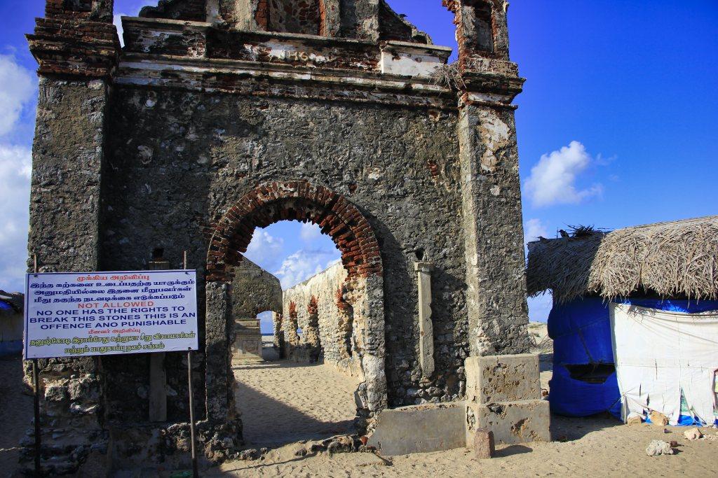 Churh without roof; ruins; Tamil Nadu; uasatish; Rameswaram;